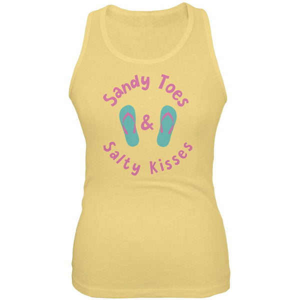 Summer Sun Sandy Toes and Salty Kisses Juniors Soft Tank Top