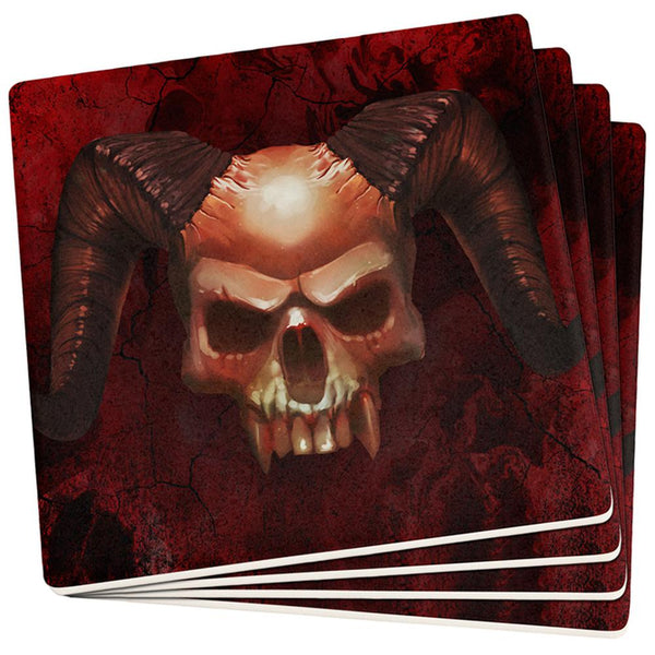 Halloween Horned Demon Skull From Hell Set of 4 Coasters
