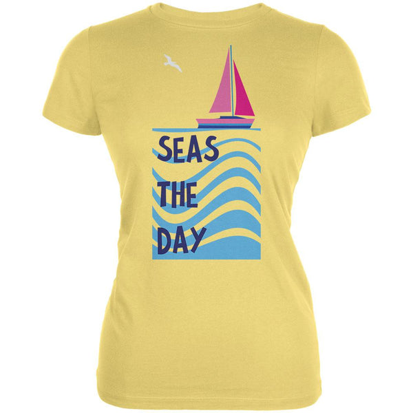 Summer Sun Seas Seize the Day Sailboat Juniors Soft T Shirt