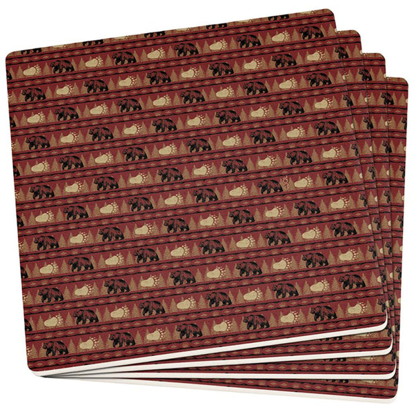 Grizzly Bear Adirondack Pattern Red Set of 4 Square Sandstone Coasters