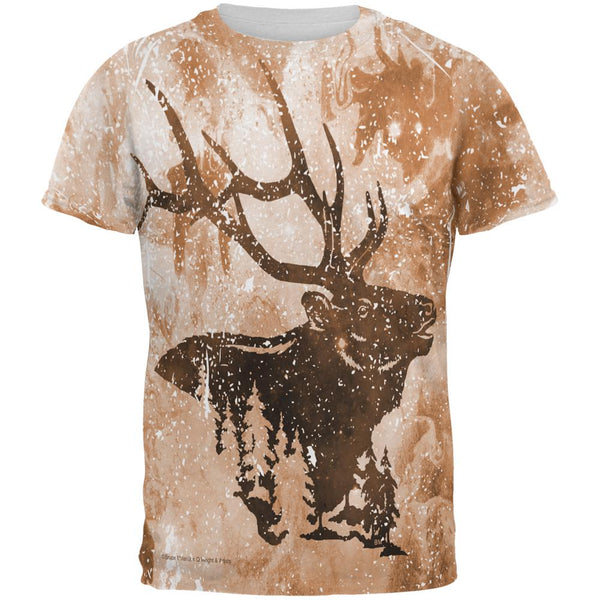 Distressed Brown Elk Silhouette All Over Mens T Shirt
