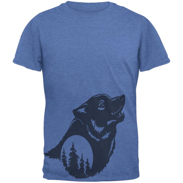 Howling Wolf Moon Silhouette Mens T Shirt