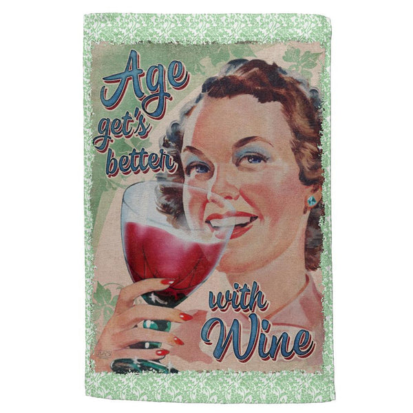 Age Gets Better With Wine All Over Hand Towel