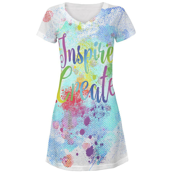 Inspire and Create Half Tone Paint Art All Over Juniors V-Neck Dress