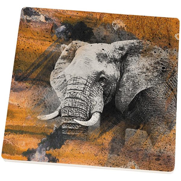 Abstract Art Elephant Square Sandstone Coaster
