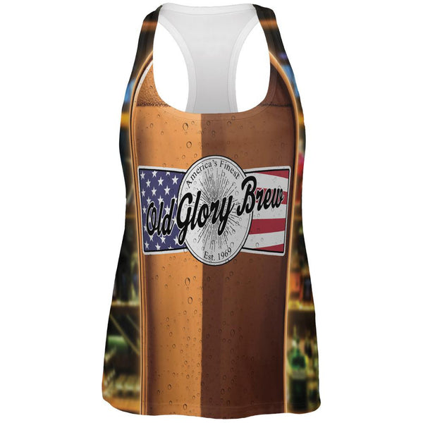 Halloween Old Glory Brew Beer Bottle Costume All Over Womens Work Out Tank Top