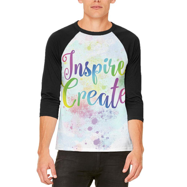 Inspire and Create Pastel Half Tone Art Mens Raglan T Shirt