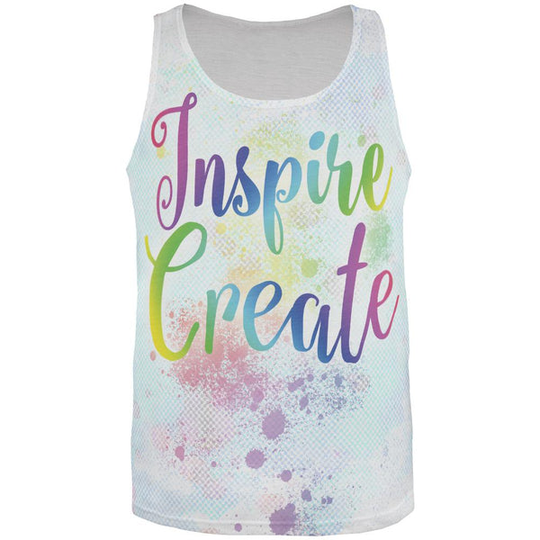 Inspire and Create Pastel Half Tone Art All Over Mens Tank Top