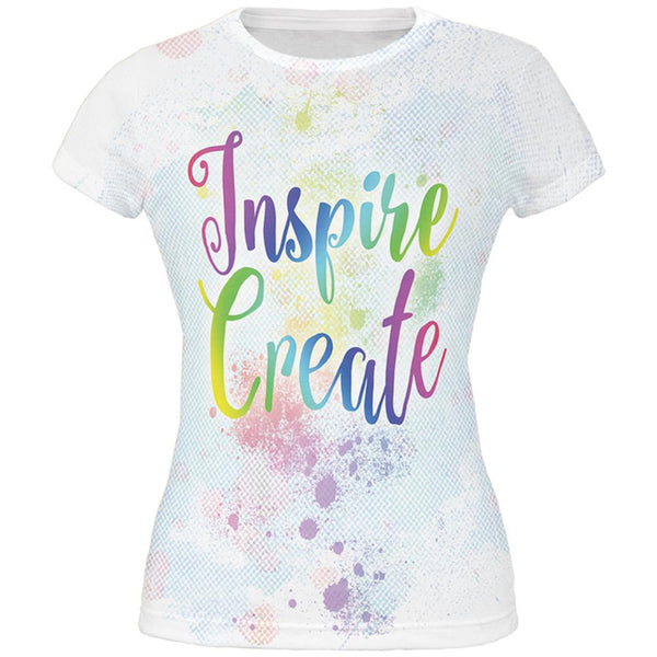 Inspire and Create Pastel Half Tone Art All Over Juniors T Shirt
