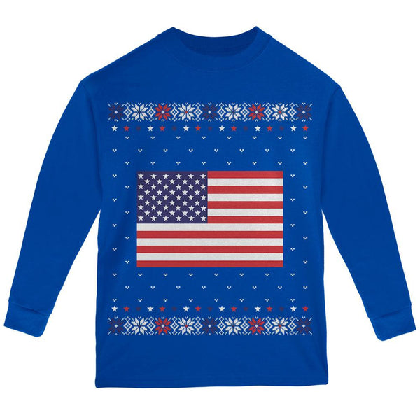 USA American Flag Ugly Christmas Sweater Youth Long Sleeve T Shirt