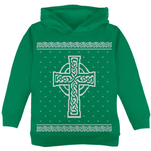 Celtic Cross Irish Ugly Christmas Sweater Toddler Hoodie