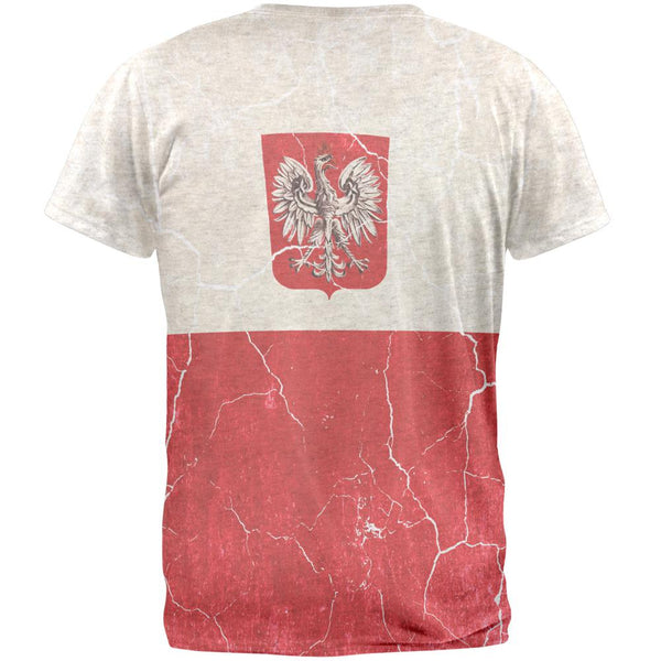 Distressed Grunge Polish Crest Flag Mens T Shirt