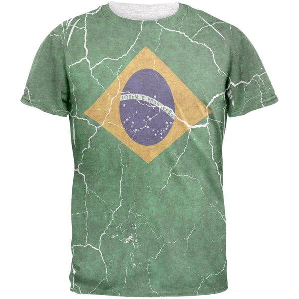 Distressed Brazilian Flag Mens T Shirt