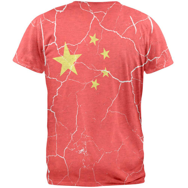 Distressed Chinese Flag Mens T Shirt