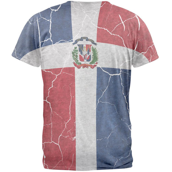 Distressed Dominican Republic Flag Mens T Shirt