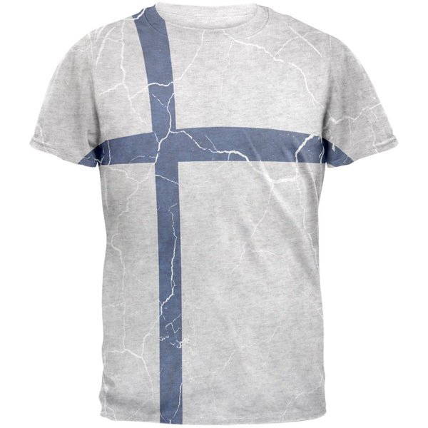 Distressed Finland Flag Mens T Shirt