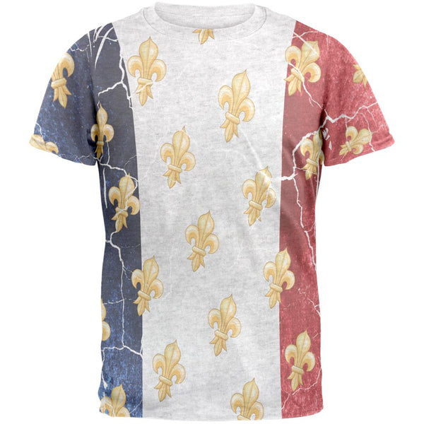 French Flag Grunge Distressed Fleur De Lis Mens T Shirt