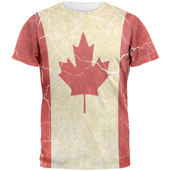 Canadian Flag Grunge Distressed Mens T Shirt