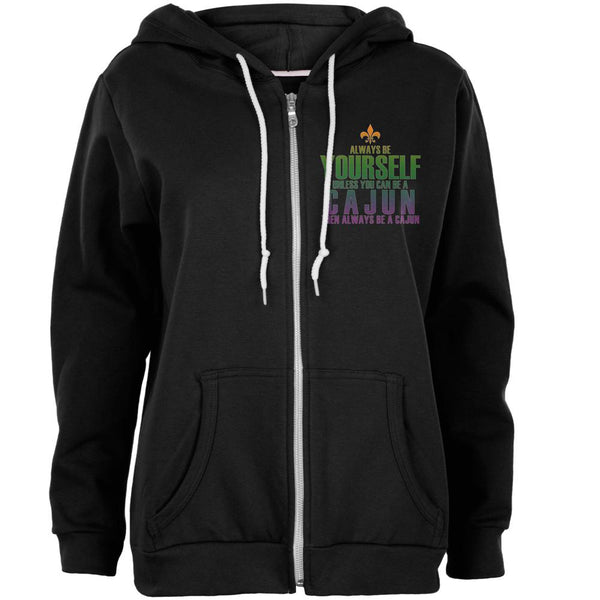 Mardi Gras Always Be Yourself Cajun Womens Full Zip Hoodie