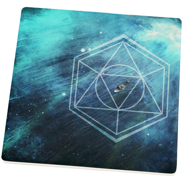 Surfing Sacred Cosmic Waves Square Sandstone Art Coaster