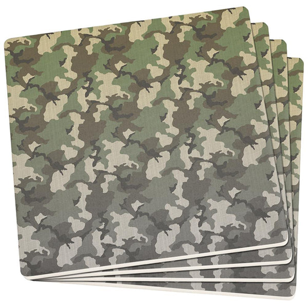 Faded Camo Set of 4 Square Sandstone Coasters