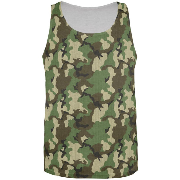 Green Woodland Camo All Over Mens Tank Top