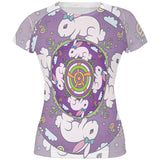 Mandala Trippy Stained Glass Easter Bunny All Over Juniors T Shirt