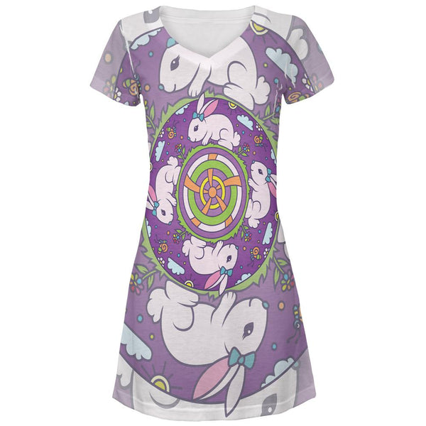 Mandala Trippy Stained Glass Easter Bunny All Over Juniors Beach Cover-Up Dress