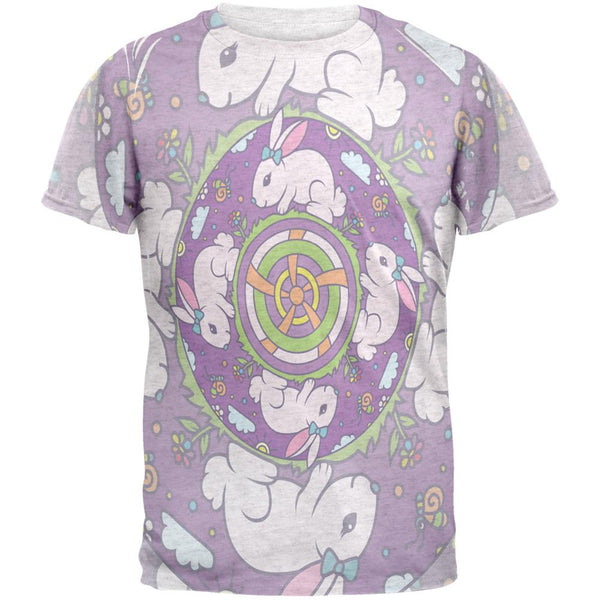 Mandala Trippy Stained Glass Easter Bunny Mens T Shirt