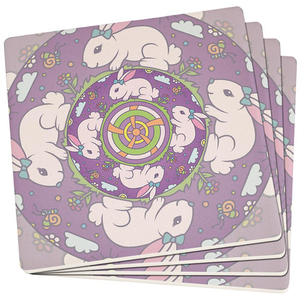 Mandala Trippy Stained Glass Easter Bunny Set of 4 Square SandsTone Art Coasters