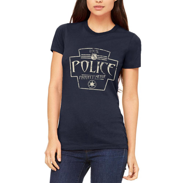 Local Police Serve And Protect Retro Vintage Juniors Soft T Shirt