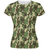 Green Woodland Camo All Over Juniors T Shirt