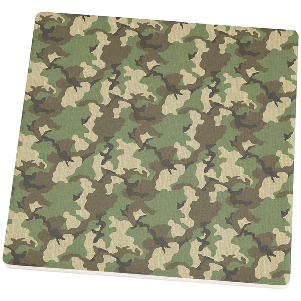Green Woodland Camo Square Sandstone Coaster