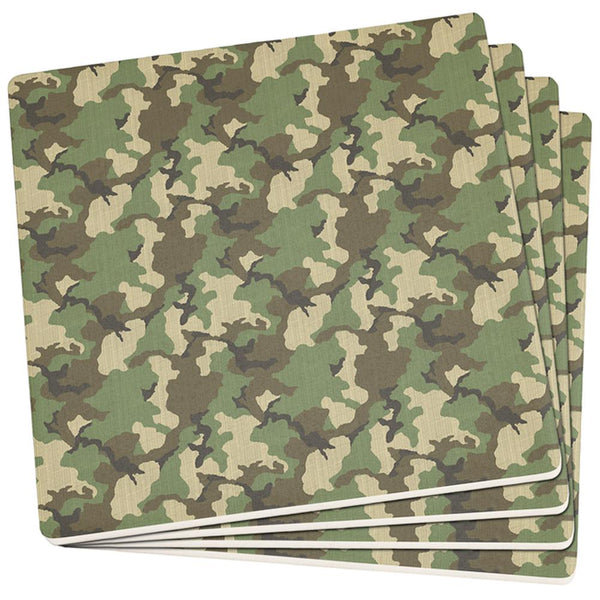Green Woodland Camo Set of 4 Square Sandstone Coasters