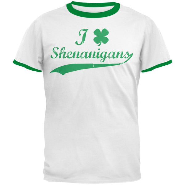 St Patricks Day Shamrock Shenanigans Mens Ringer T Shirt