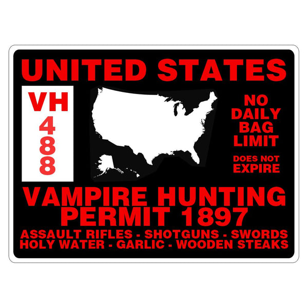Vampire Hunting Permit Rectangular Decal Sticker