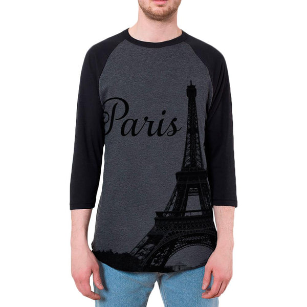 Paris Eiffel Tower Mens Raglan T Shirt