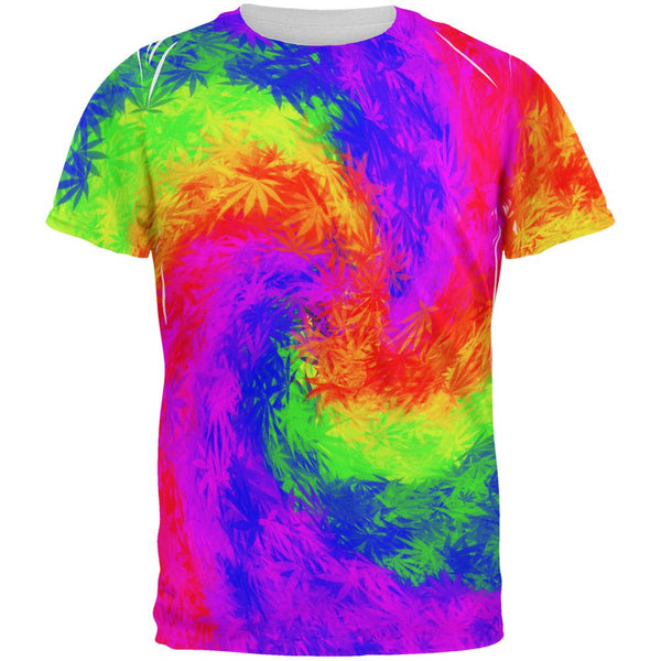 Pot Leaf Tie Dye All Over Mens T Shirt