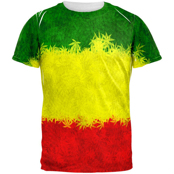 Rasta Pot Leaf One Love Tie Dye All Over Mens T Shirt