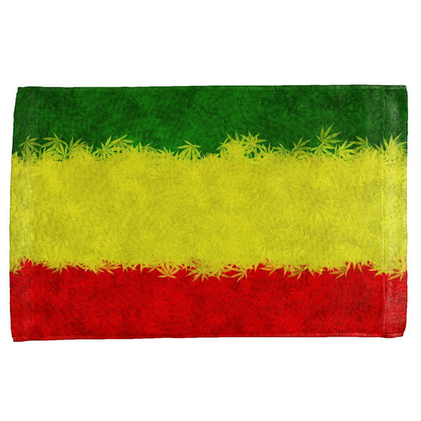 Rasta Pot Leaf One Love Tie Dye All Over Hand Towel