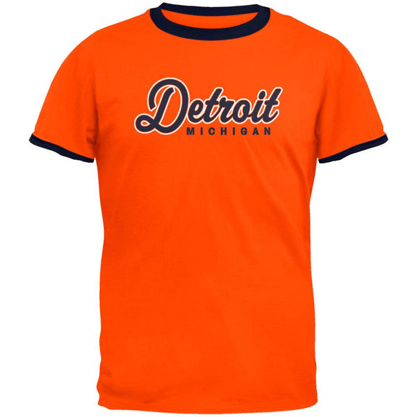 Detroit Michigan Baseball Script Mens Ringer T Shirt