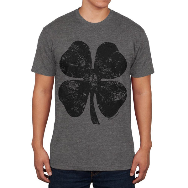 St Patricks Day Black Irish Distressed Shamrock Mens Soft T Shirt
