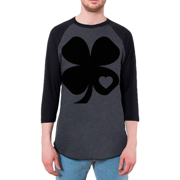 St Patricks Day Black Irish Shamrock Heart Mens Raglan T Shirt