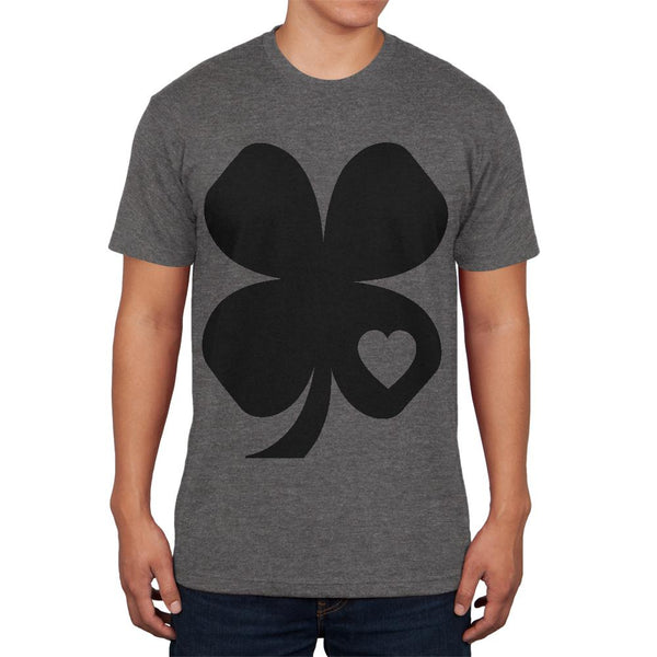 St Patricks Day Black Irish Shamrock Heart Mens Soft T Shirt