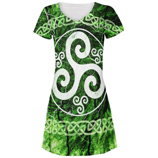 Celtic Triskelion Triskele Distressed All Over Juniors Beach Cover-Up Dress