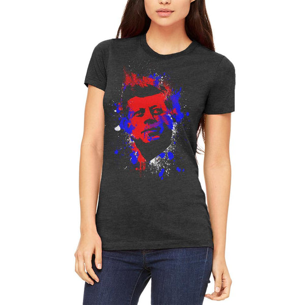 4th of July Patriotic President JFK Kennedy Silhouette Juniors Soft T Shirt