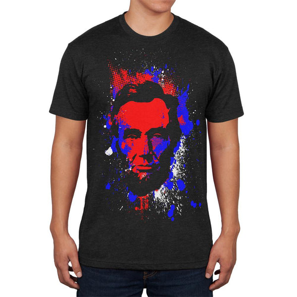 4th of July Patriotic President Lincoln Silhouette Mens Soft T Shirt