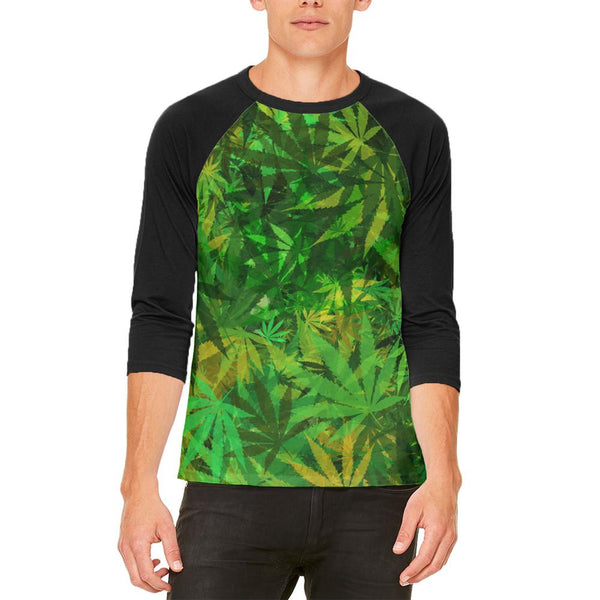 Weed Pot Leaf Camo Mens Raglan T Shirt