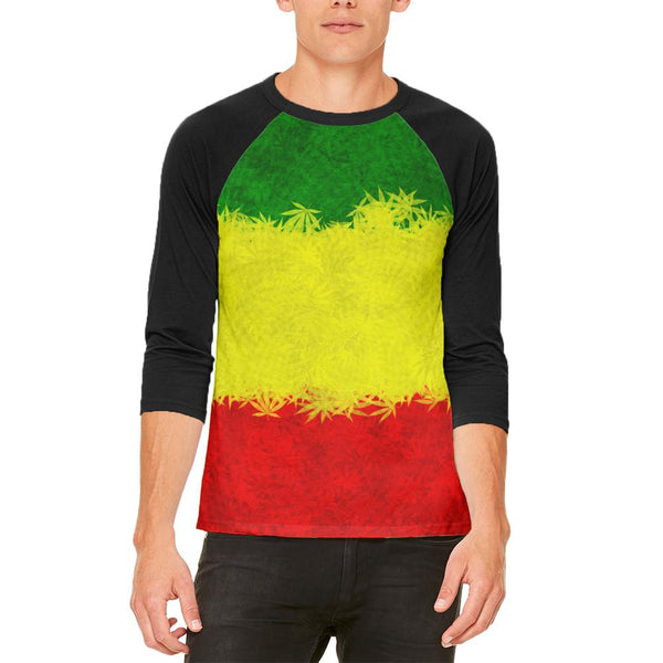 Rasta Pot Leaf One Love Tie Dye Mens Raglan T Shirt