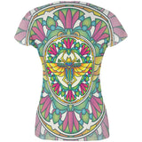 Mandala Trippy Stained Glass Scarab All Over Juniors T Shirt